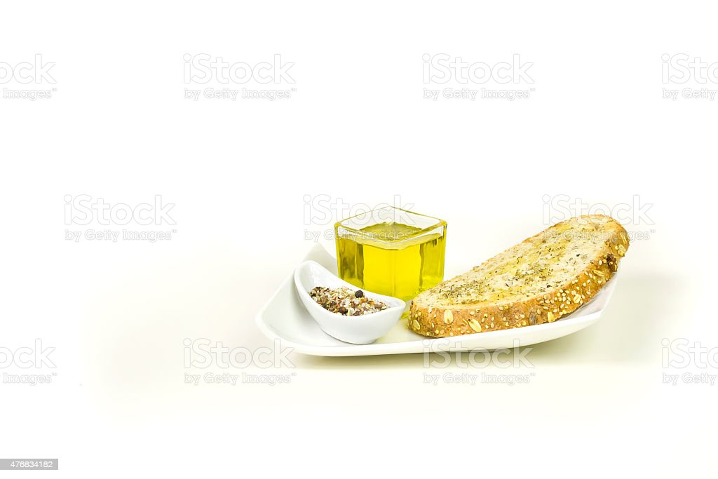 Toast, oil and spices stock photo