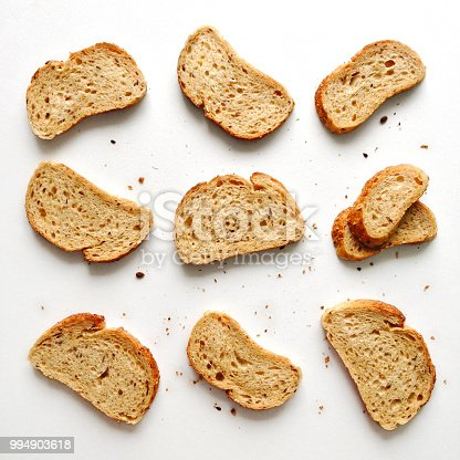 Set of slices toast bread isolated on a white background, flat lay top view