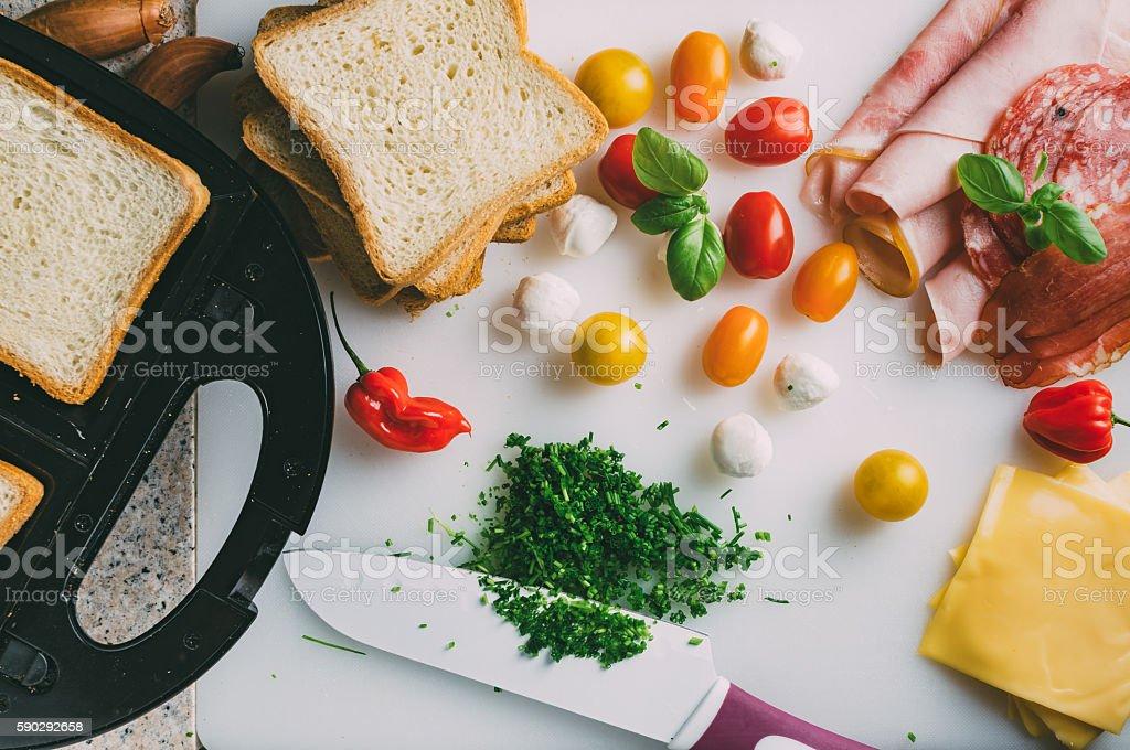 Toast sandwich preparation. Стоковые фото Стоковая фотография