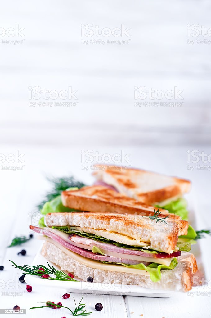 toast sandwich with sausage stock photo