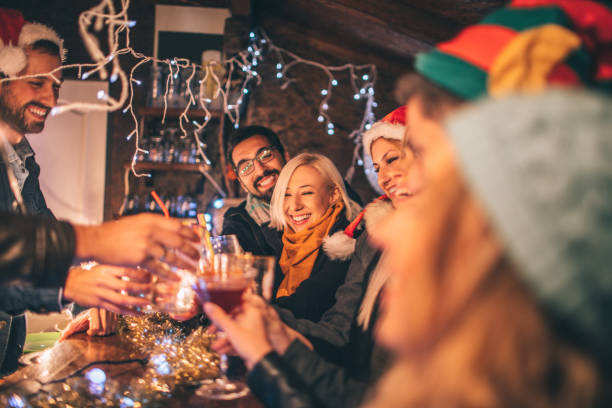 toast to a new year's - mulled wine stock photos and pictures