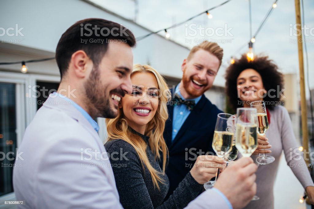 A toast to love and friendship ! stock photo