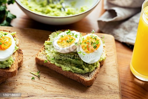 istock Toast with avocado and boiled egg 1202186007