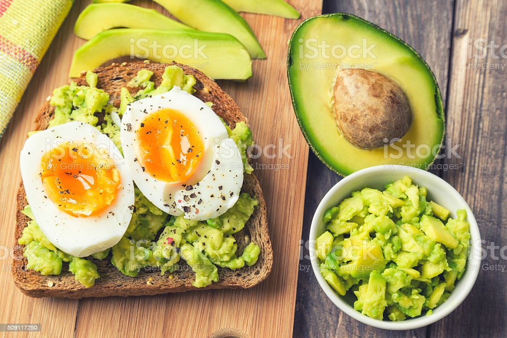 Toast with avocado and egg bildbanksfoto