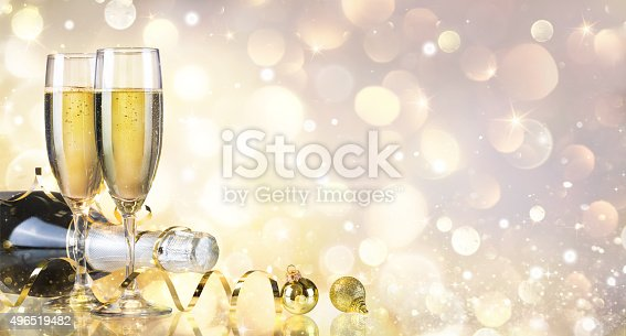 istock Toast With Bottle And Champagne - Golden Background 496519482