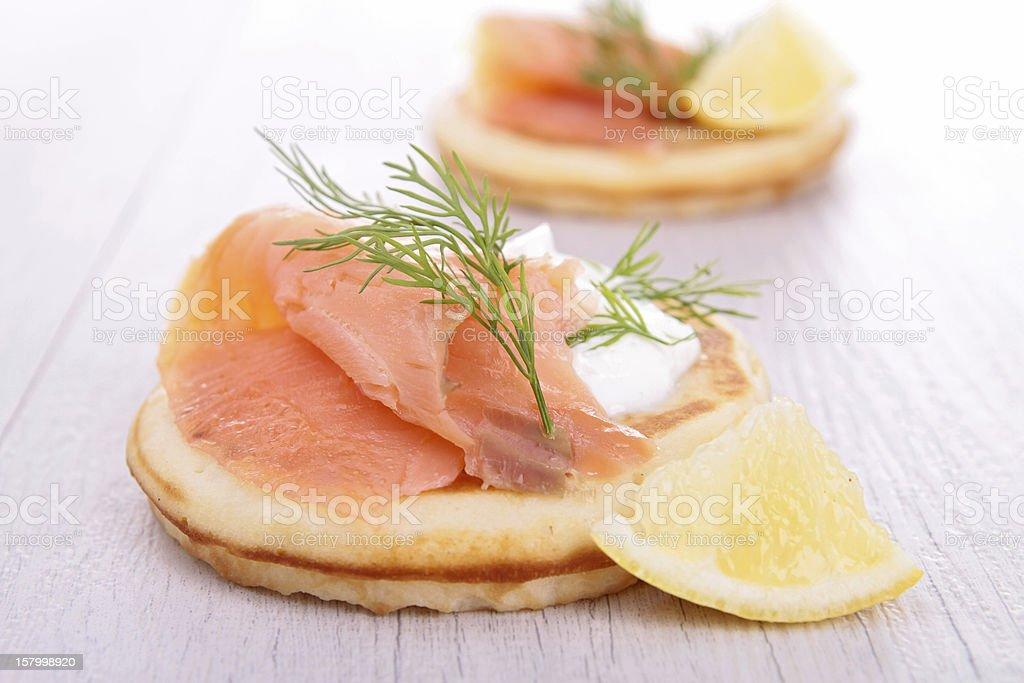 toast with cream and salmon stock photo