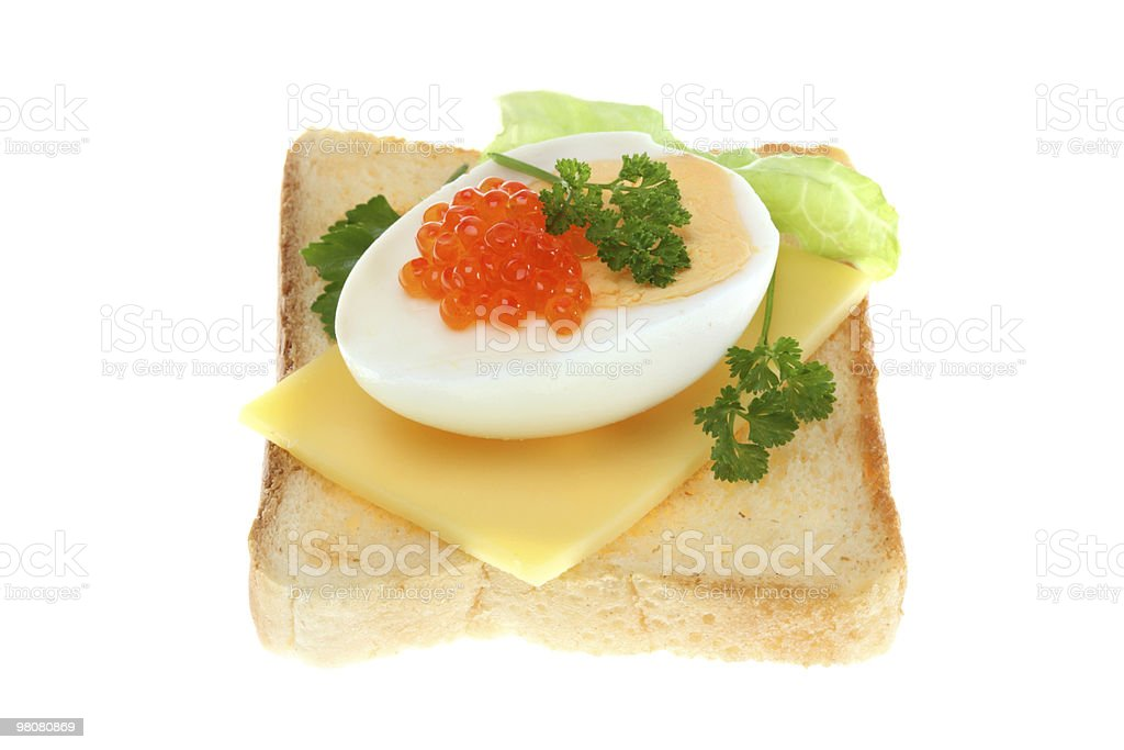 Toast with egg and caviar. royalty-free stock photo