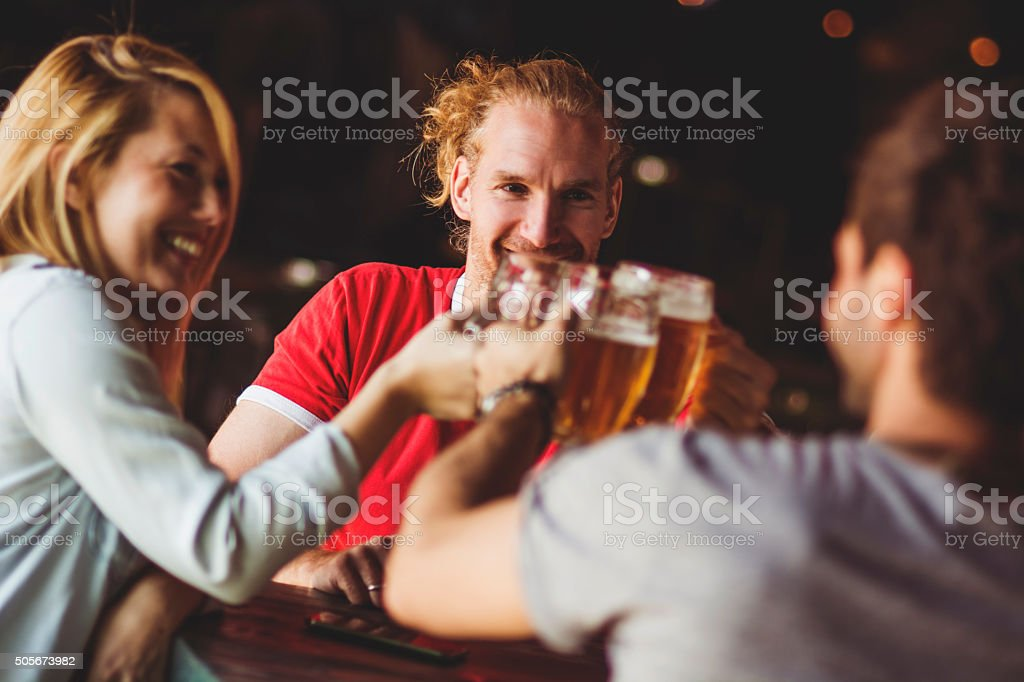 Toast with friends stock photo