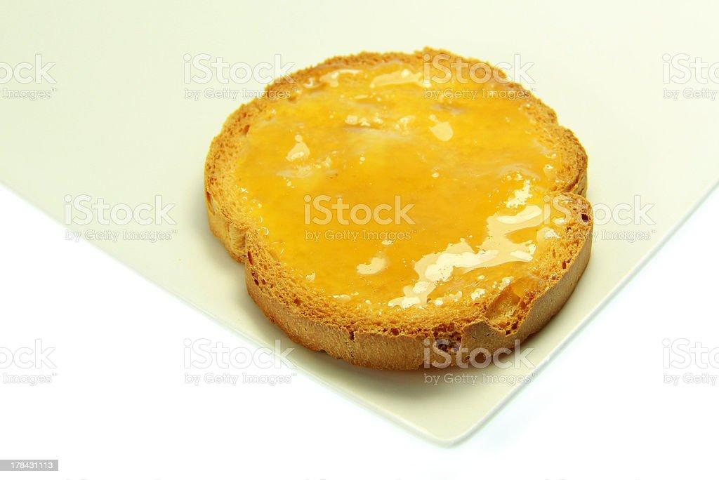 Toast with honey royalty-free stock photo