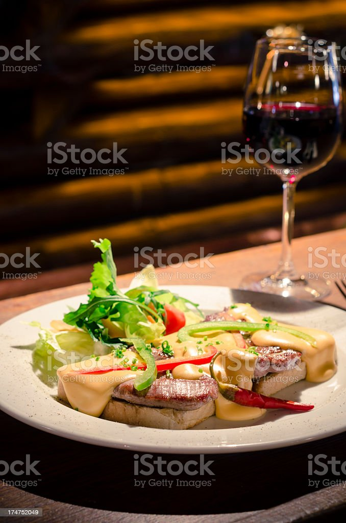 Toast with meat ( royalty-free stock photo