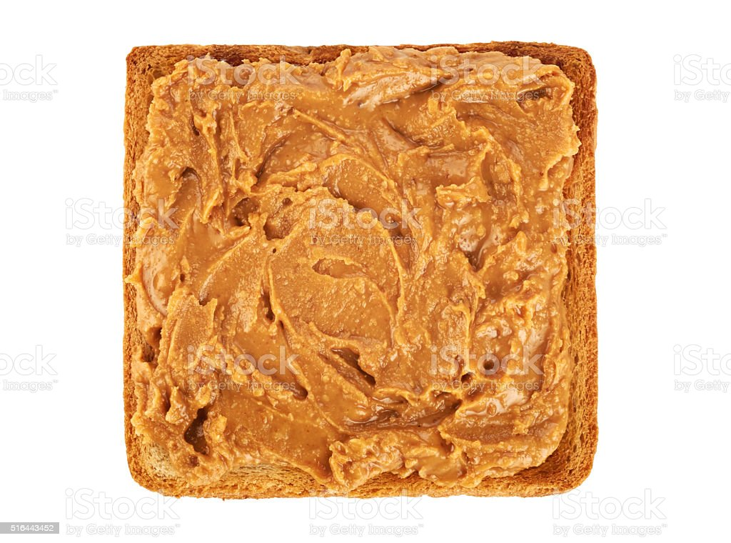 Toast with peanut butter isolated on white background. stock photo