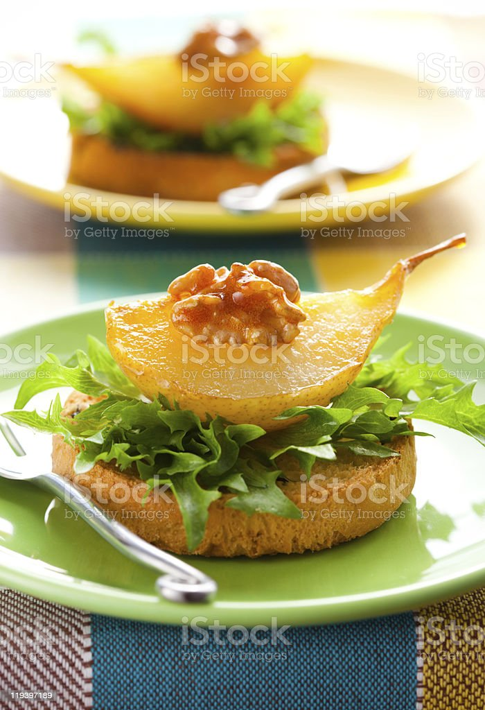 toast with  pears and walnuts royalty-free stock photo