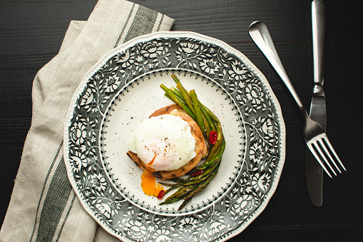 Toast with Poached Egg and Boiled Green Asparagus