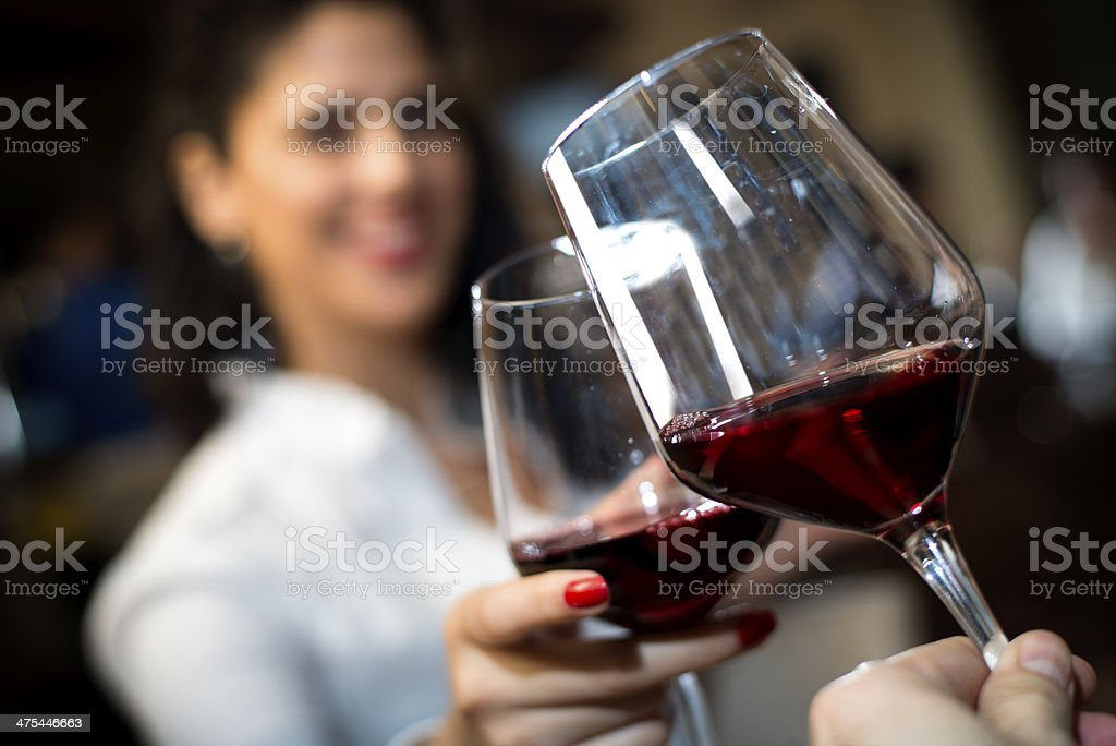 Toast with red wine stock photo