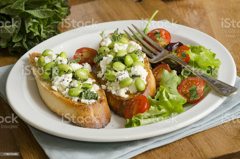 Toast with salad stock photo