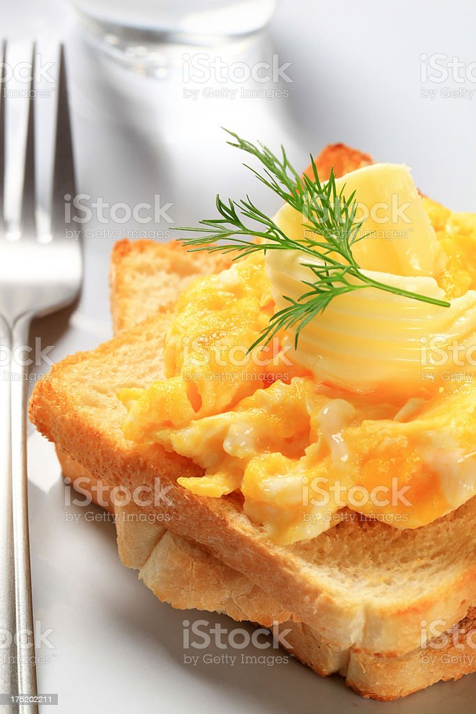 Toast with scrambled eggs royalty-free stock photo