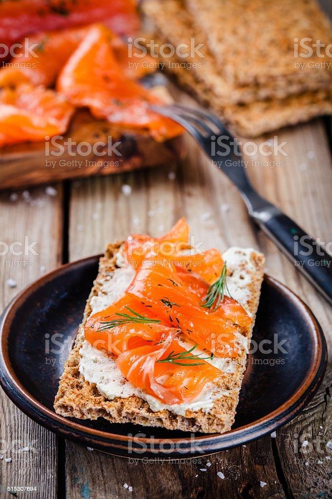 Toast with smoked salmon stock photo
