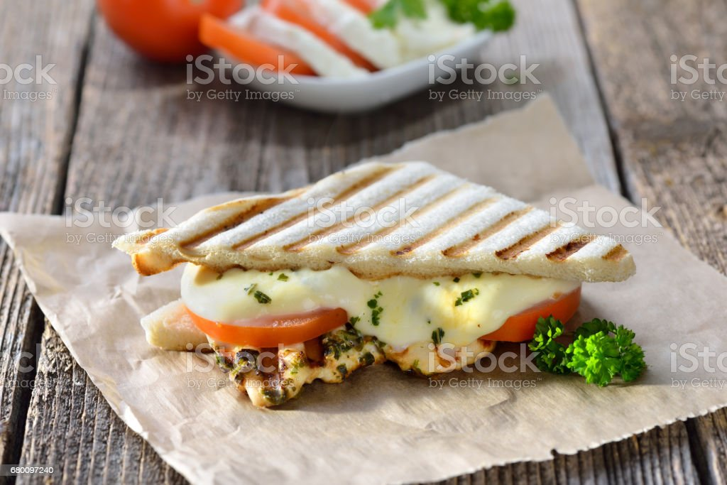 Toast with tomato and mozzarella stock photo