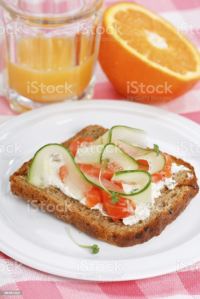 Toast with vegetables and fish royalty-free stock photo
