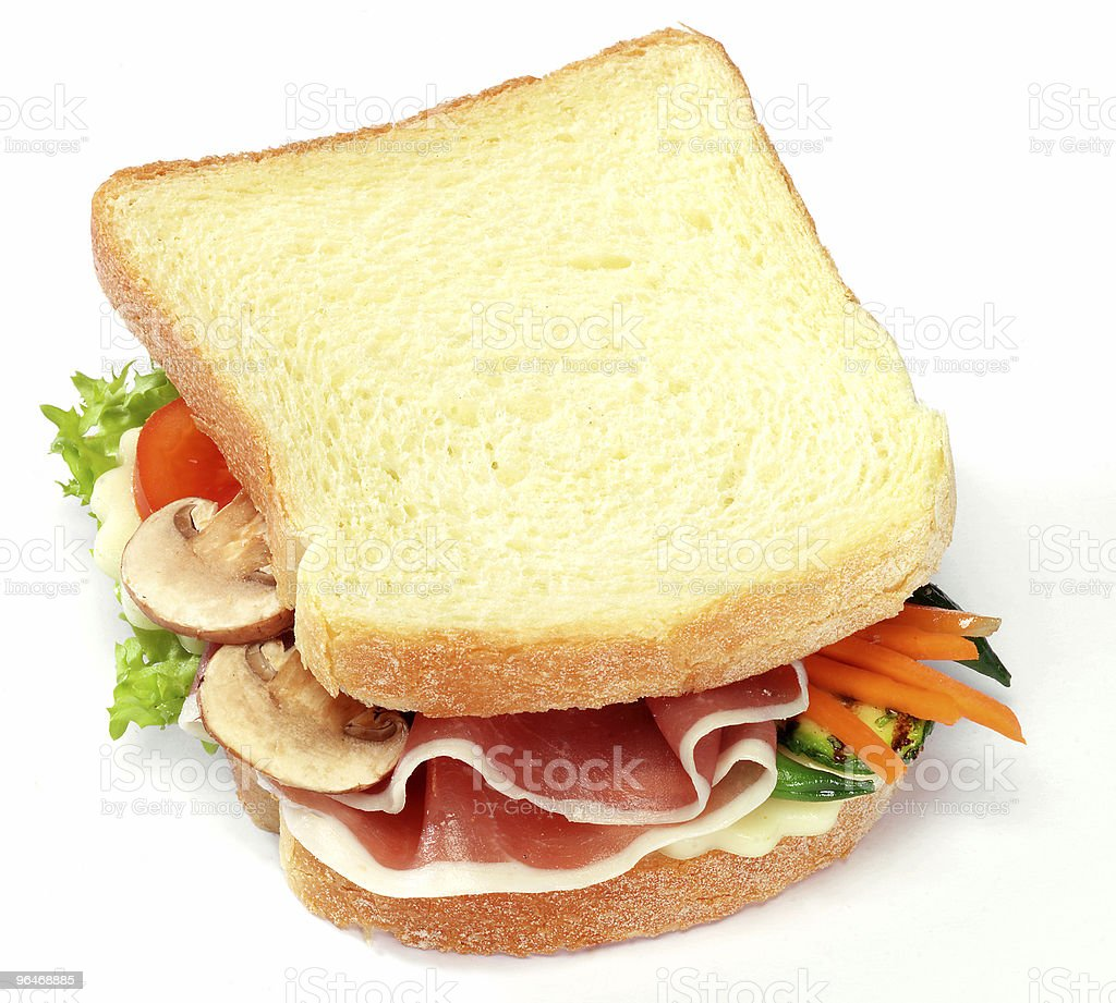 Toast with vegetables and ham royalty-free stock photo