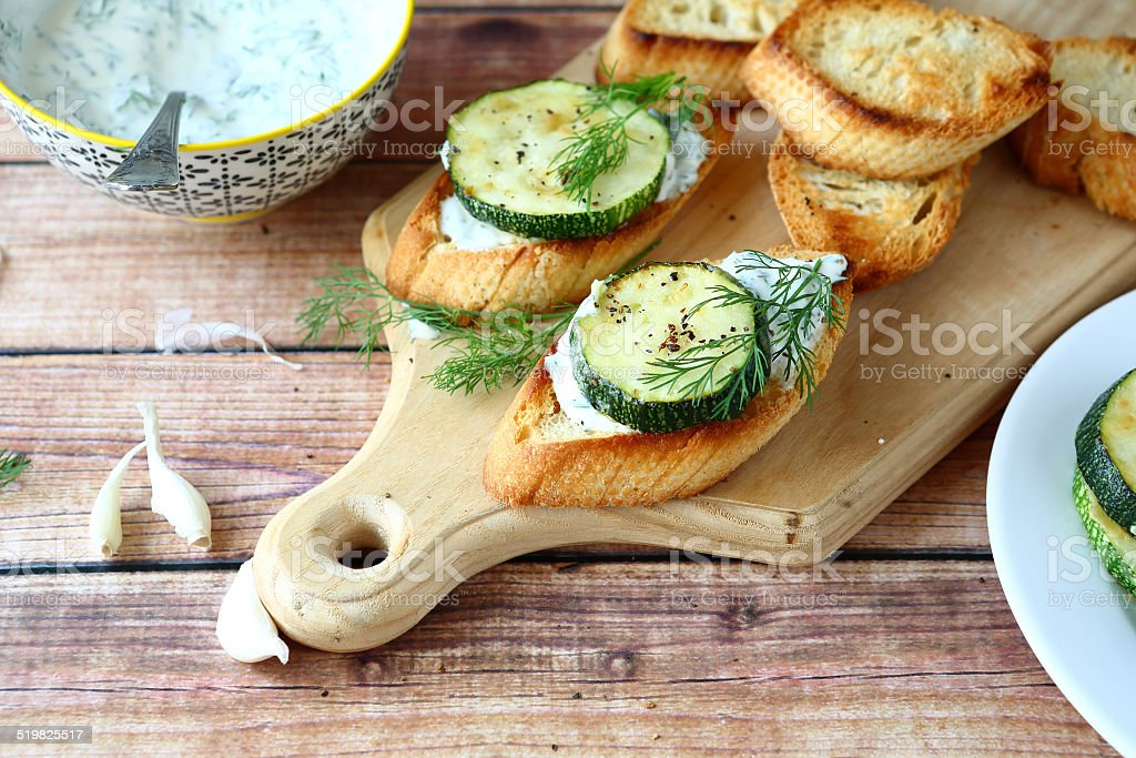 Toast With Zucchini And Cheese Stock Photo - Download Image