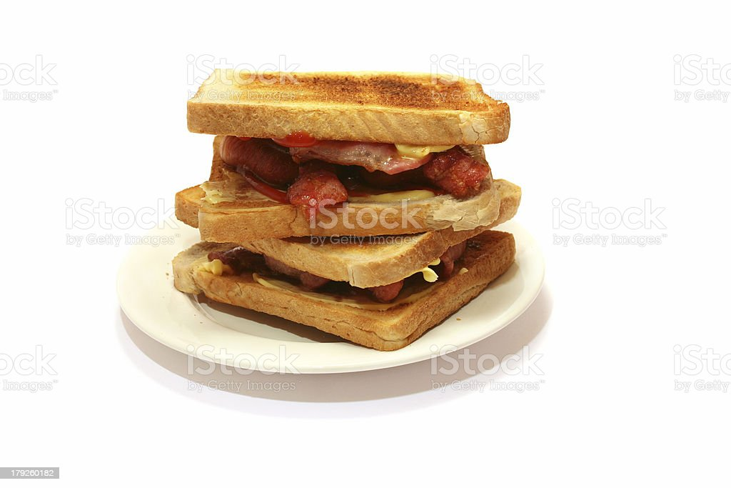 Toasted Bacon Sandwich royalty-free stock photo