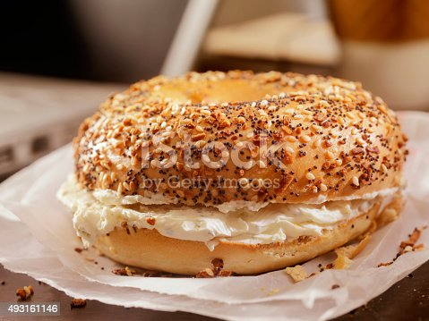 Toasted Bagel with Cream Cheese at your Desk - Photographed on a Hasselblad H3D11-39 megapixel Camera System