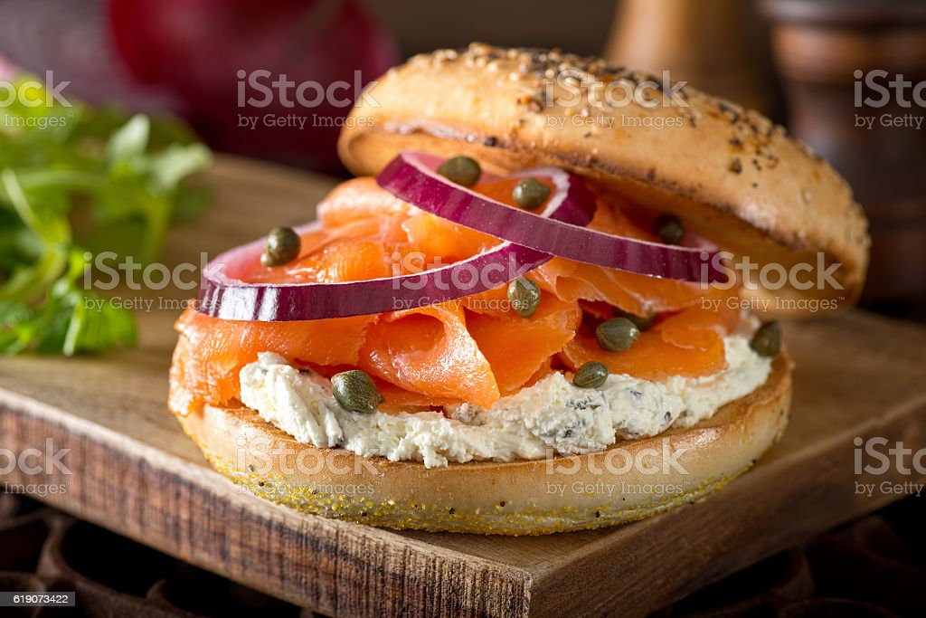 Toasted Bagel with Smoked Salmon and Cream Cheese stock photo