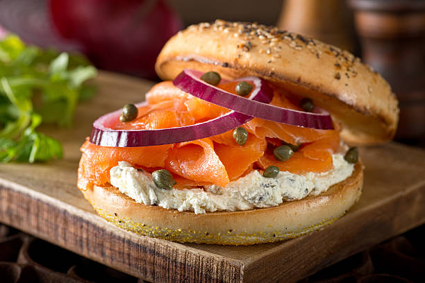 Toasted Bagel with Smoked Salmon and Cream Cheese - Photo