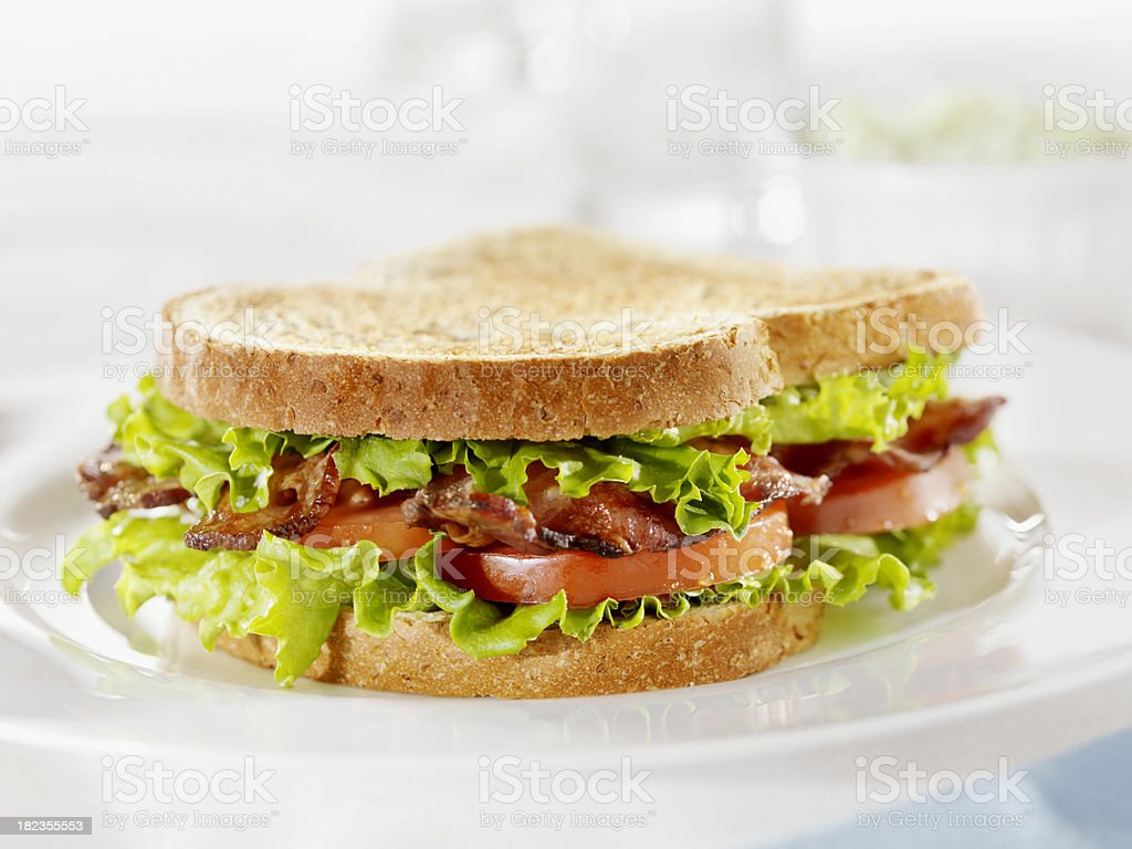 Toasted BLT Sandwich with Coleslaw stock photo