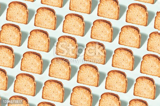 Toasted bread pattern on green background