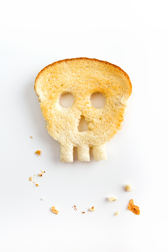 Toasted Bread Shaped Like Skull - Unhealthy Gluten Concept