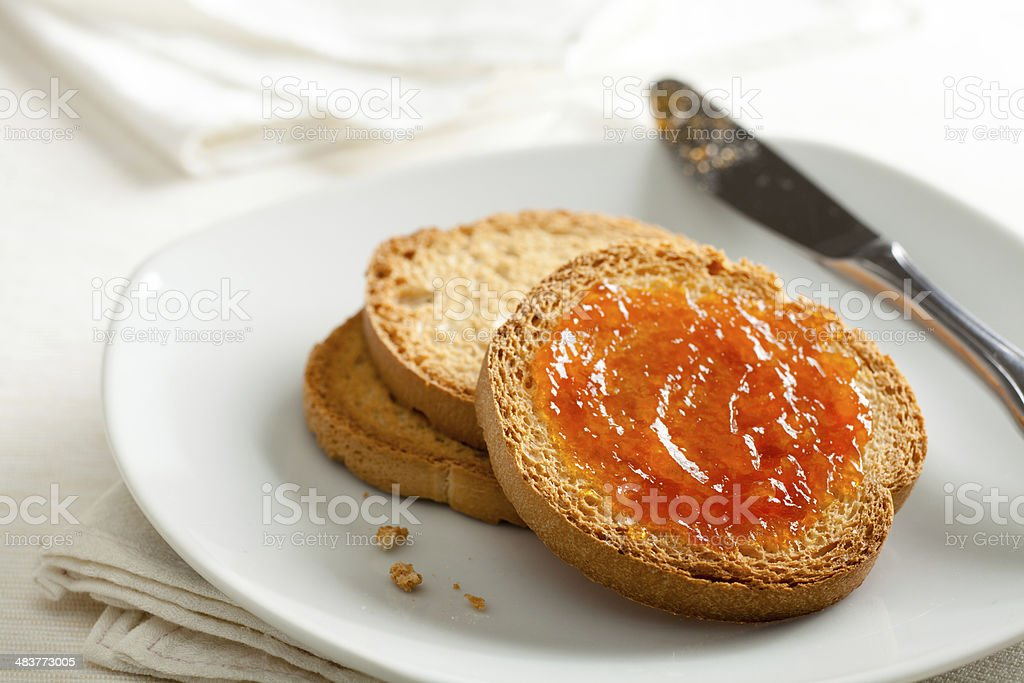 Toasted Bread with Apricot Jam stock photo