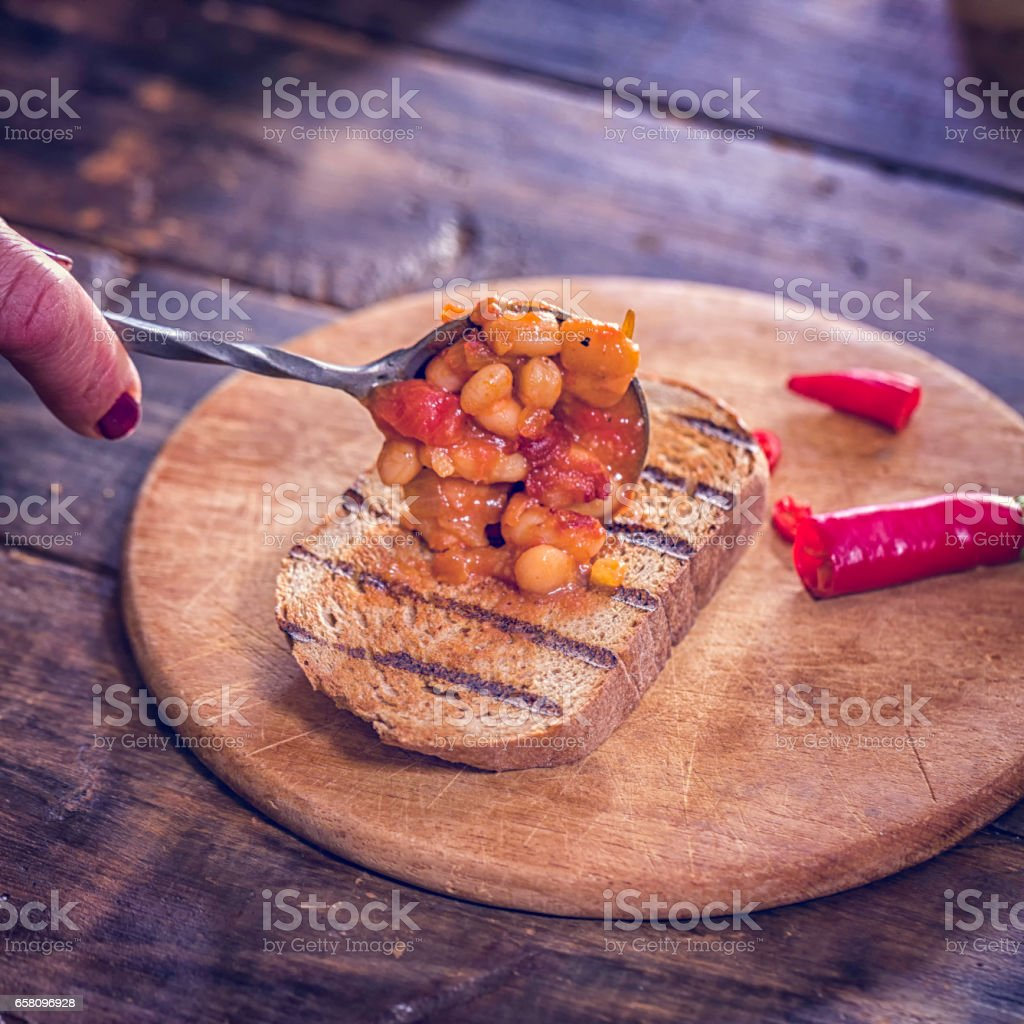 Toasted Bread with Baked Beans royalty-free stock photo