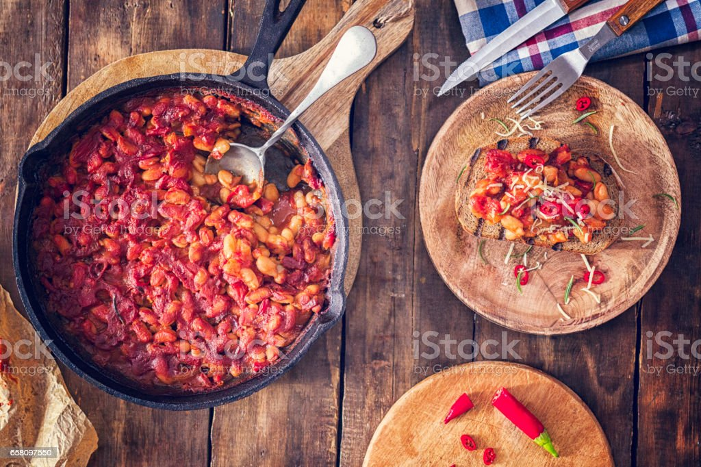 Toasted Bread with Baked Beans stock photo