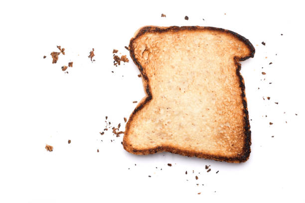 Toasted bread with crumbs stock photo