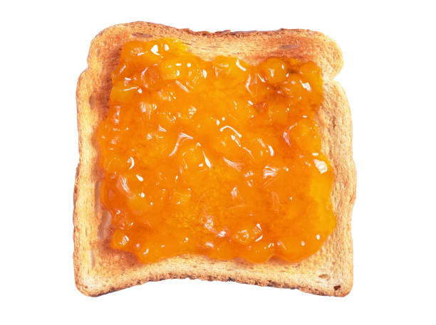 Toasted bread with jam stock photo