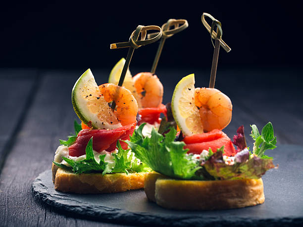 Toasted Canape with Shrimp and Salmon - Photo