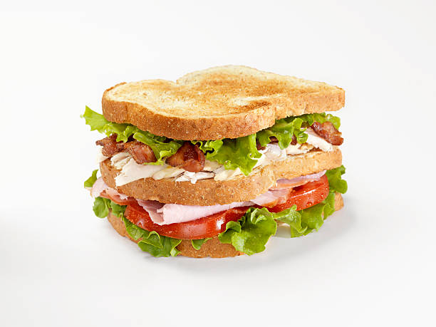 toasted club sandwich - club sandwich stock photos and pictures