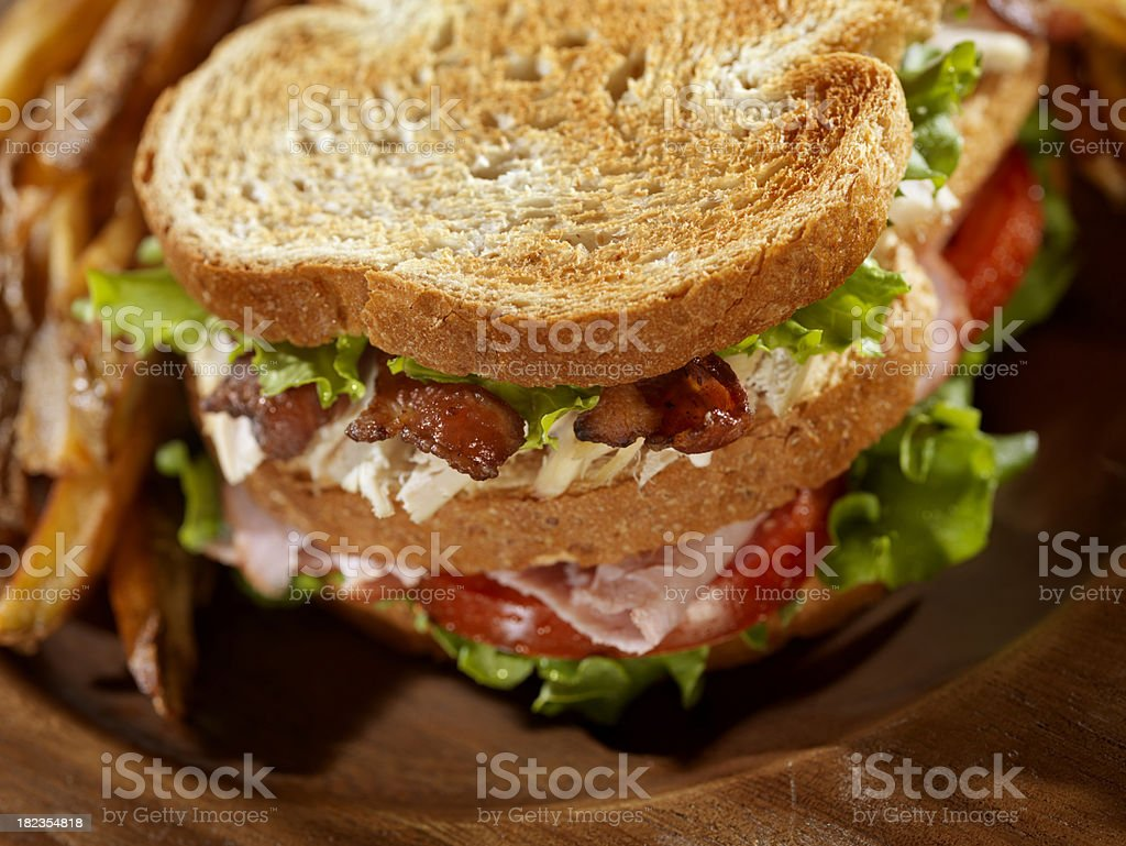 Toasted Club Sandwich with French Fries royalty-free stock photo