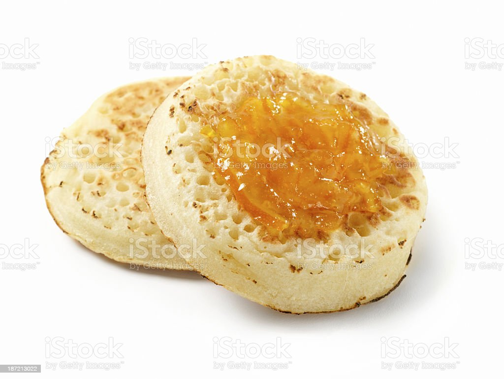 Toasted Crumpets with Orange Marmalade royalty-free stock photo