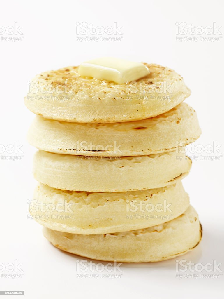Toasted English Crumpets with Butter royalty-free stock photo