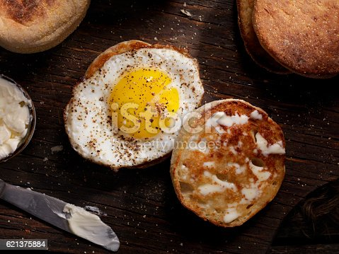 Toasted English Muffin With a Sunny side up Egg - Photographed on a Hasselblad H3D11-39 megapixel Camera System