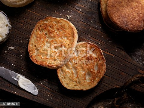 Toasted English Muffin with Butter - Photographed on a Hasselblad H3D11-39 megapixel Camera System