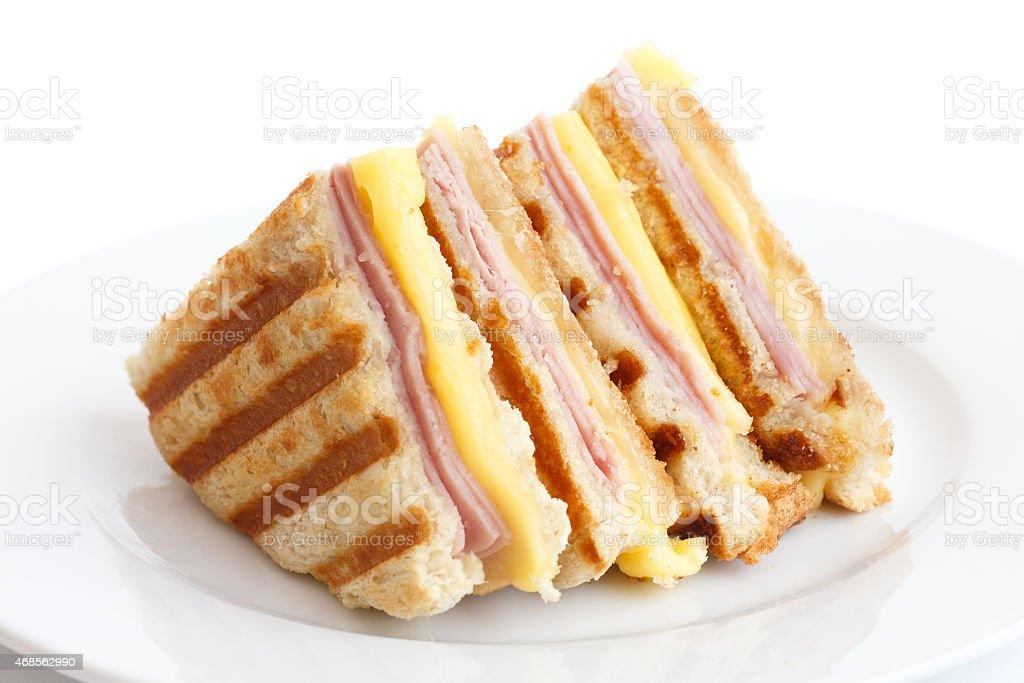 Toasted ham and cheese panini sandwich. stock photo
