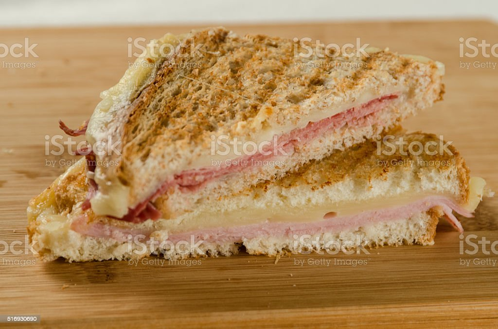 Toasted Ham and Cheese Sandwiches with White and Wholemeal Bread stock photo