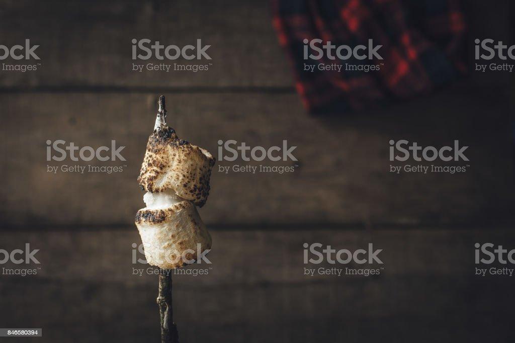 Toasted marshmallows on a stick stock photo