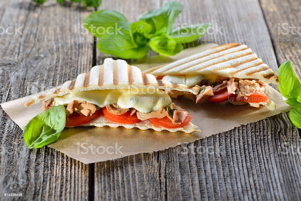 Toasted panini with tuna stock photo