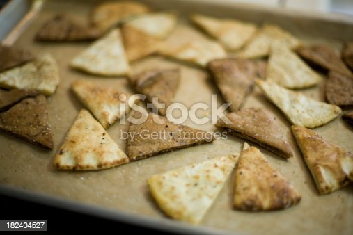 Toasted pita bread slices brushed with olive oil and sprinkled with sea salt