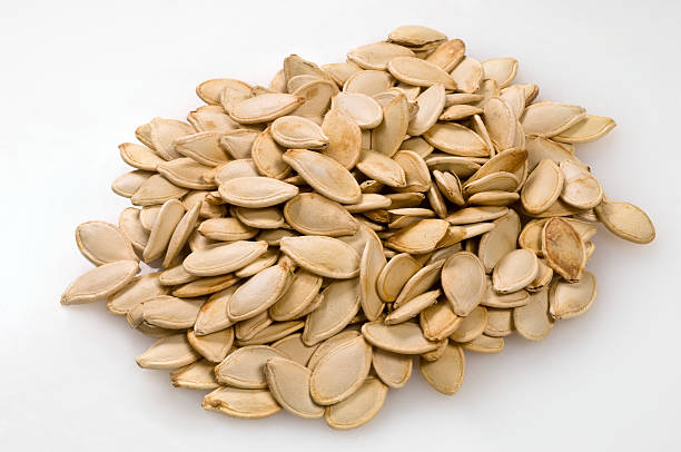 Toasted pumpkin seeds stock photo